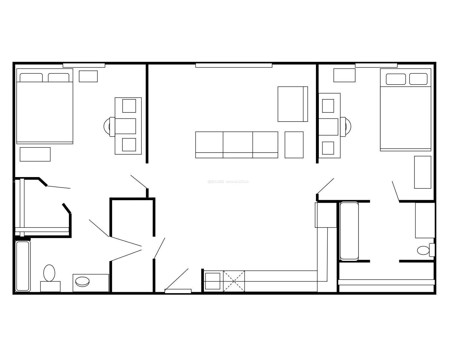80平米两室一厅户型平面图_装修123效果图图片