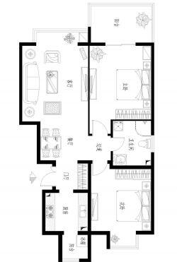 80平米两室一厅房子户型图