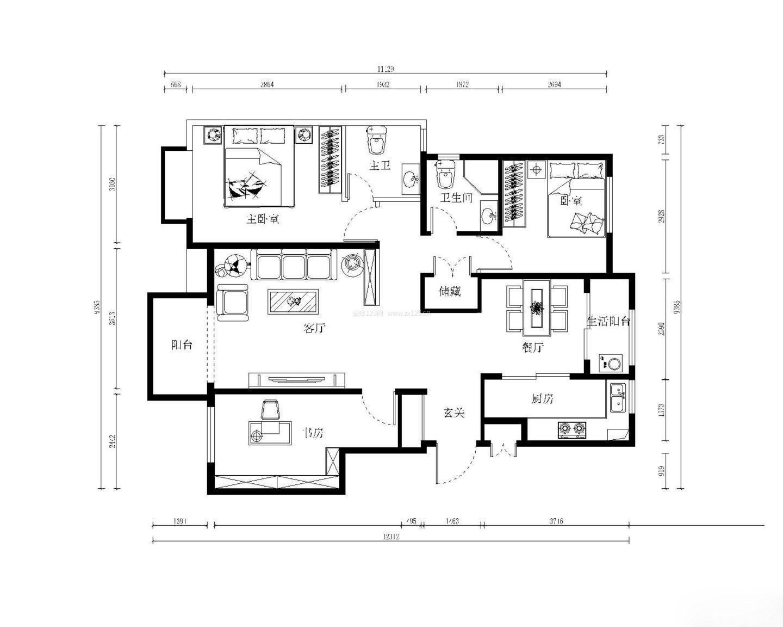 120平方三室一厅房屋室内设计平面图欣赏