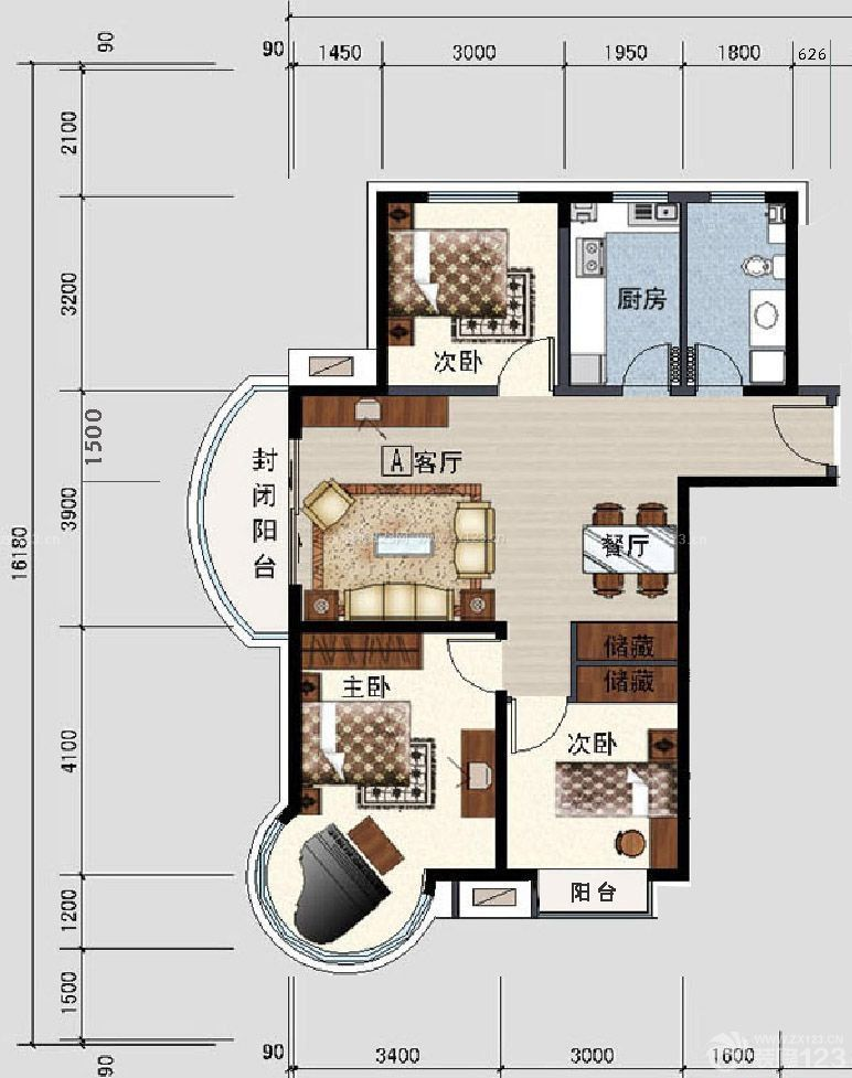 120平方三室一厅房屋室内平面图