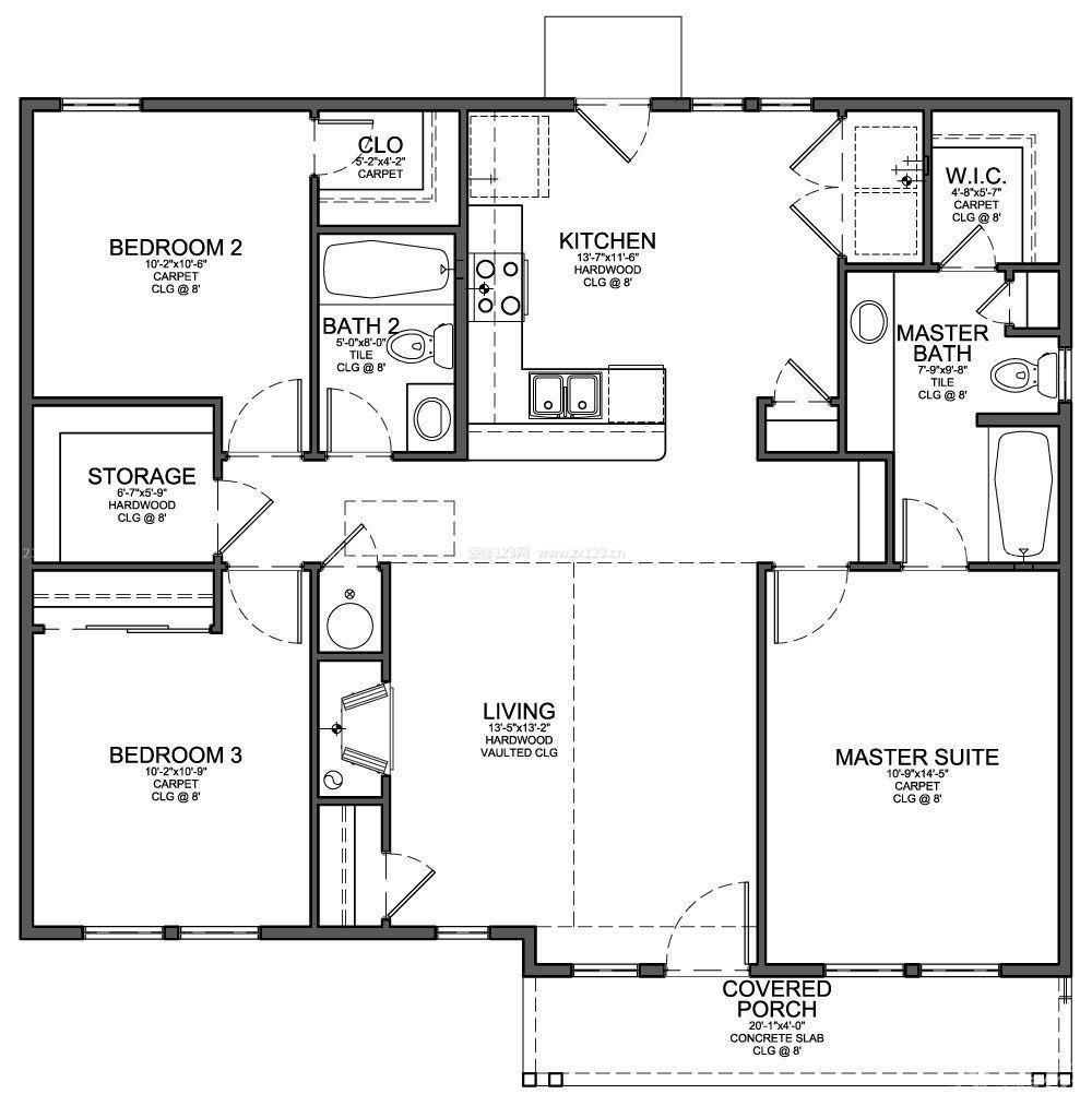 120平方三室一厅平面设计图_装修123效果图