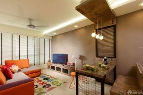 80平米2房2廳小戶型裝修效果圖 咖啡色墻面裝修效果圖片