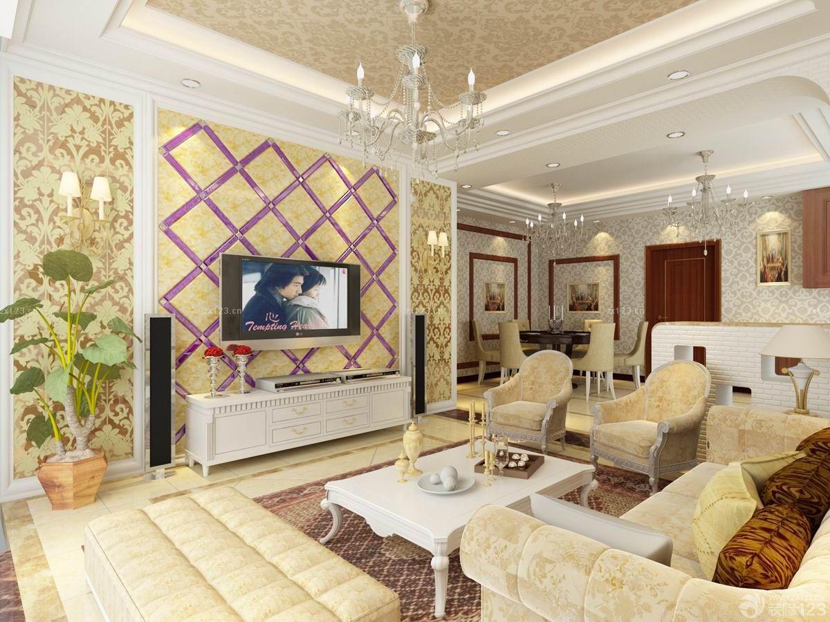 欧式家装玻璃电视背景墙设计效果图