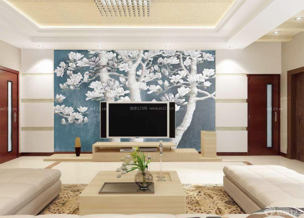 现代客厅玻璃电视背景墙效果图片_装修123效果图