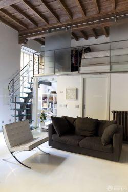 60平米小户型客厅带阁楼楼梯设计装修样板
