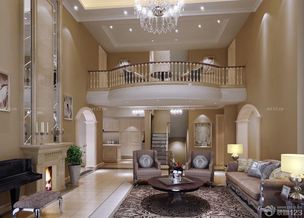 欧式复式别墅沙发背景墙图片大全_装修123效果图图片