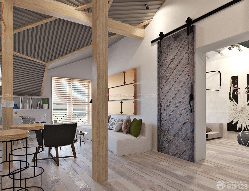 60平米二室一厅小户型带阁楼装修效果图