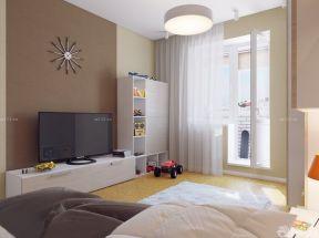 90平三室一廳裝修效果圖 咖啡色墻面裝修效果圖片