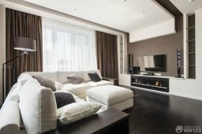 120平米三室兩廳兩衛裝修 咖啡色窗簾裝修效果圖片