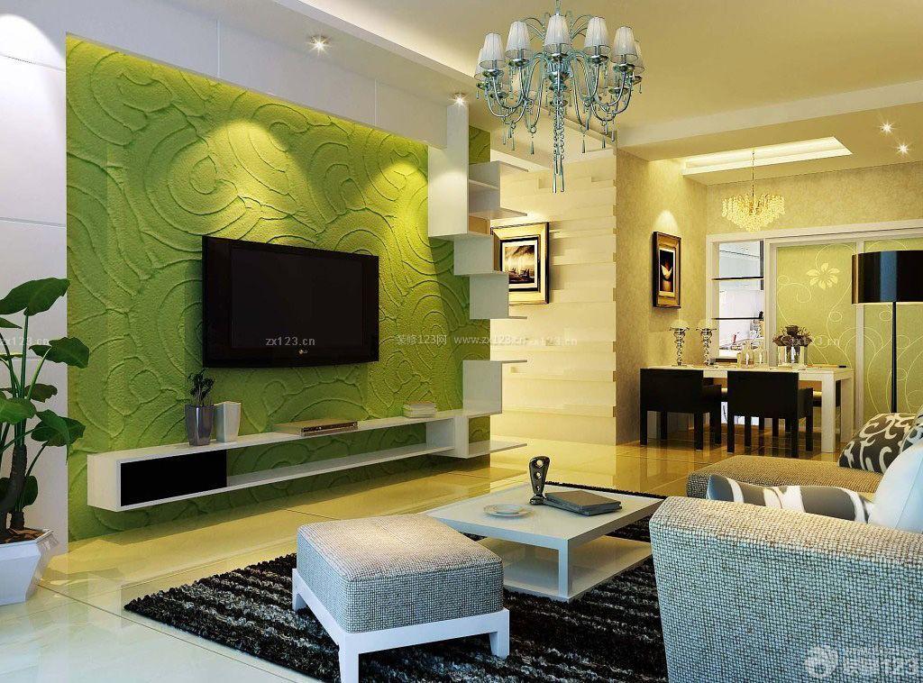硅藻泥电视背景墙颜色装修效果图片