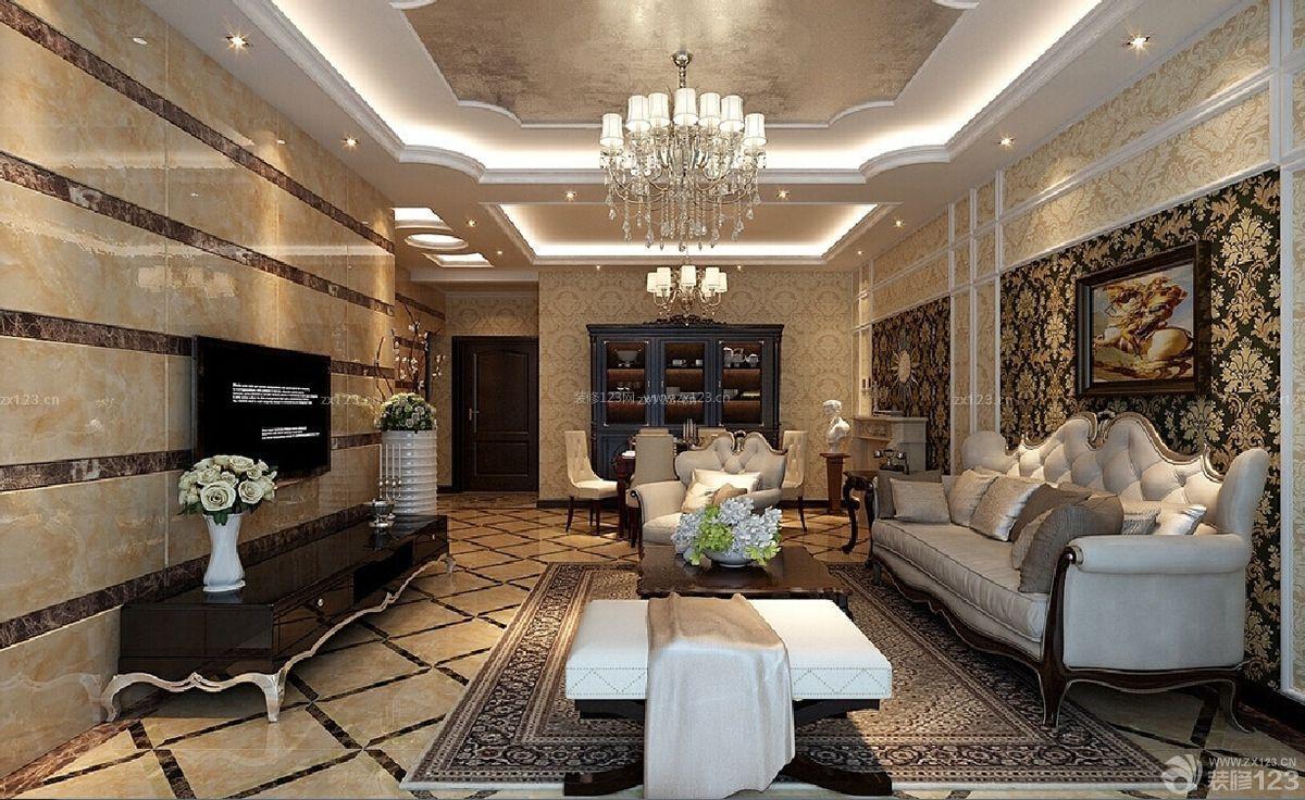 欧式家装客厅吊顶造型效果图图片