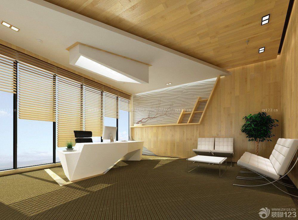 老总办公室木质背景墙装修效果图片