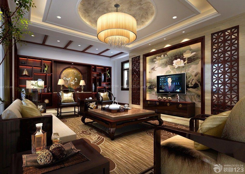 现代中式客厅圆形吊顶造型装修效果图