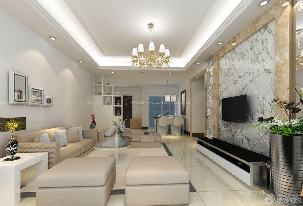 家装现代风格大理石电视背景墙