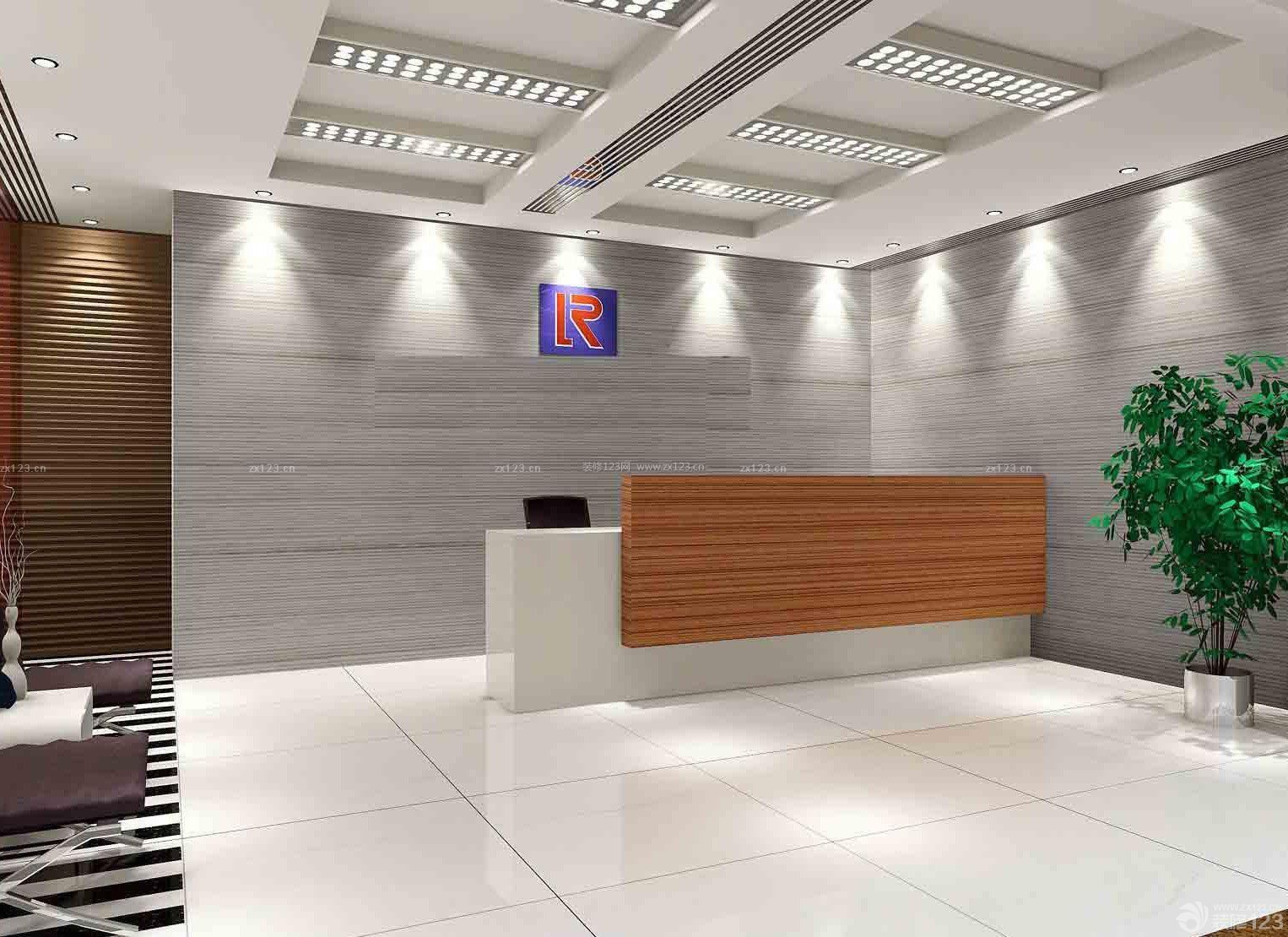 现代公司前台形象墙设计装修效果图图集图片
