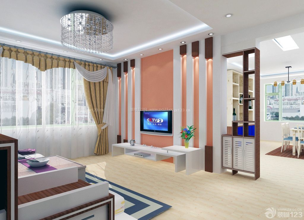 现代简约家装石膏板电视背景墙图片_装修123效果图