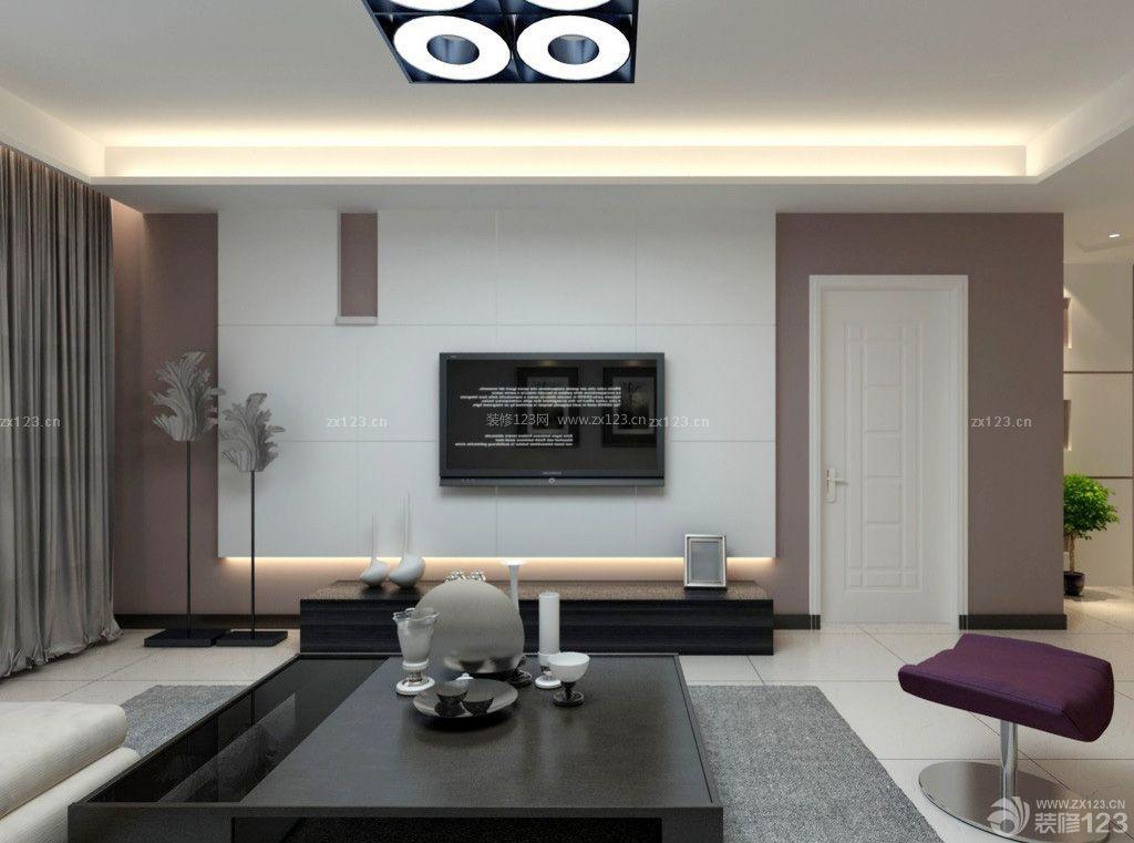 现代简约风格装修简单电视背景墙图片