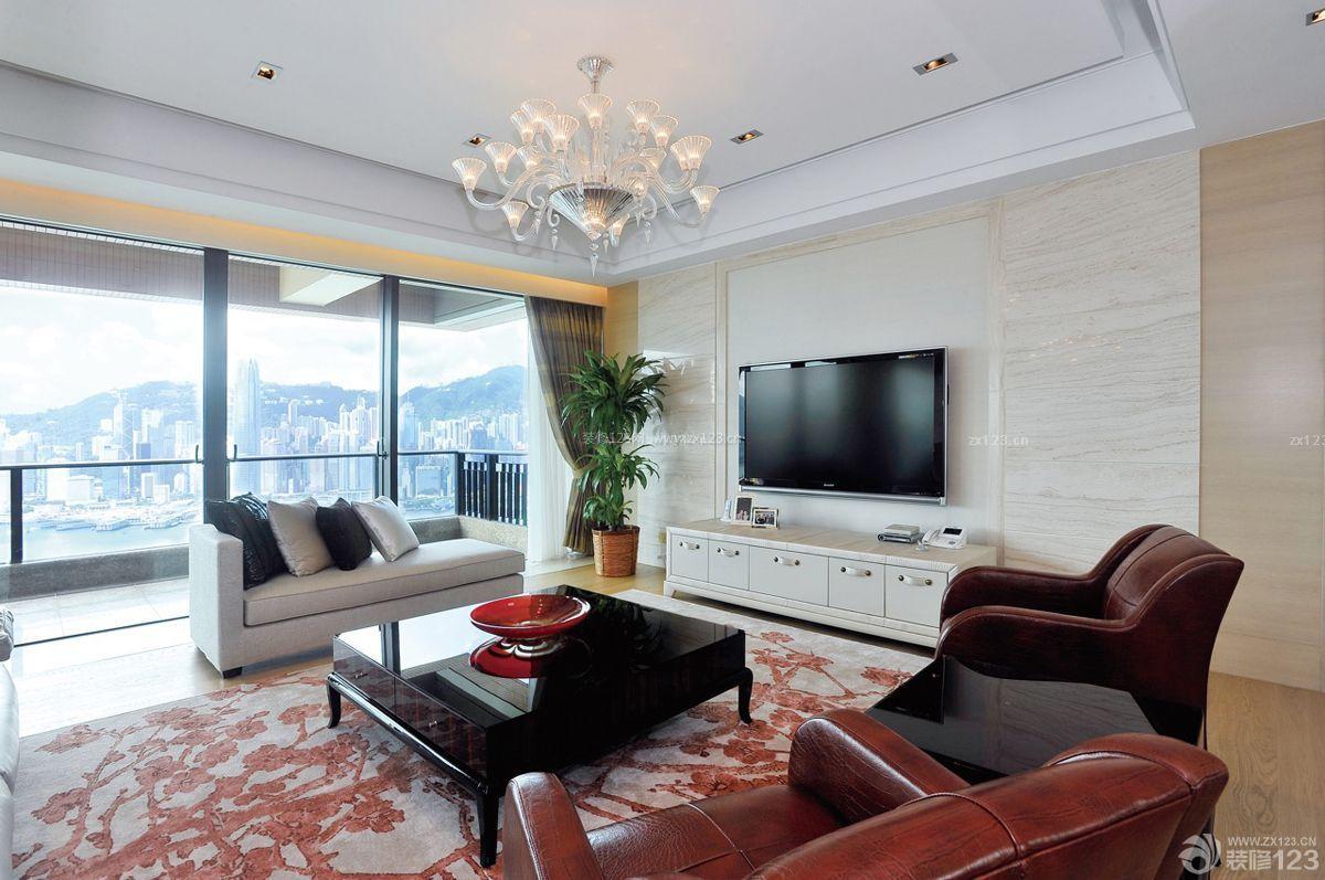 客厅电视机微晶石瓷砖背景墙