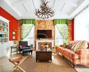 別墅電視背景墻 室內裝修田園風格