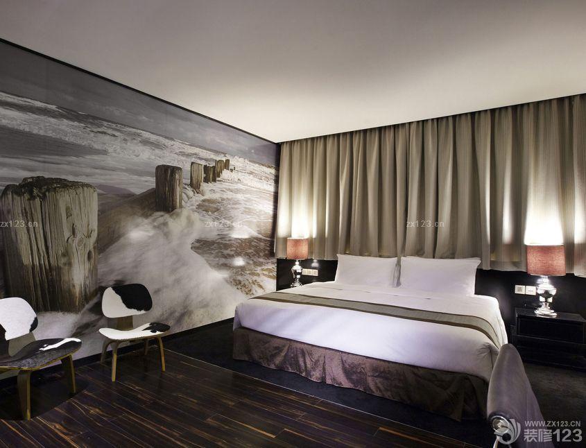 现代宾馆客房背景画装修效果图片