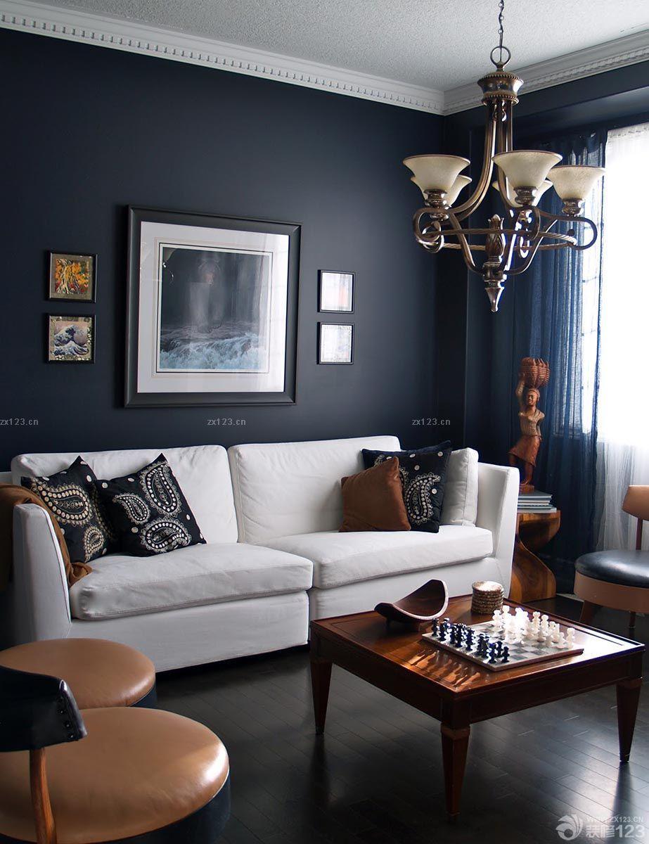 简欧客厅黑色背景墙面装修设计效果图片