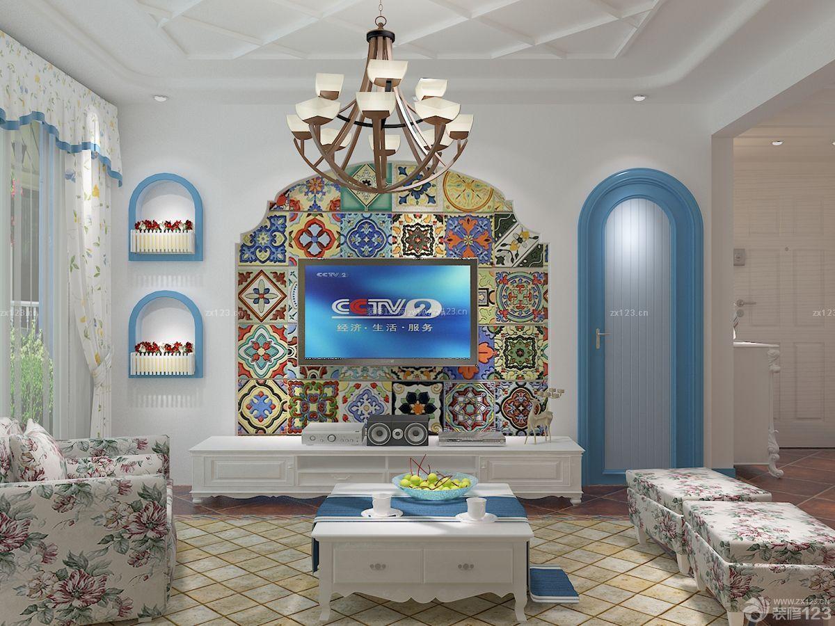 地中海风格电视背景墙瓷砖壁画图片