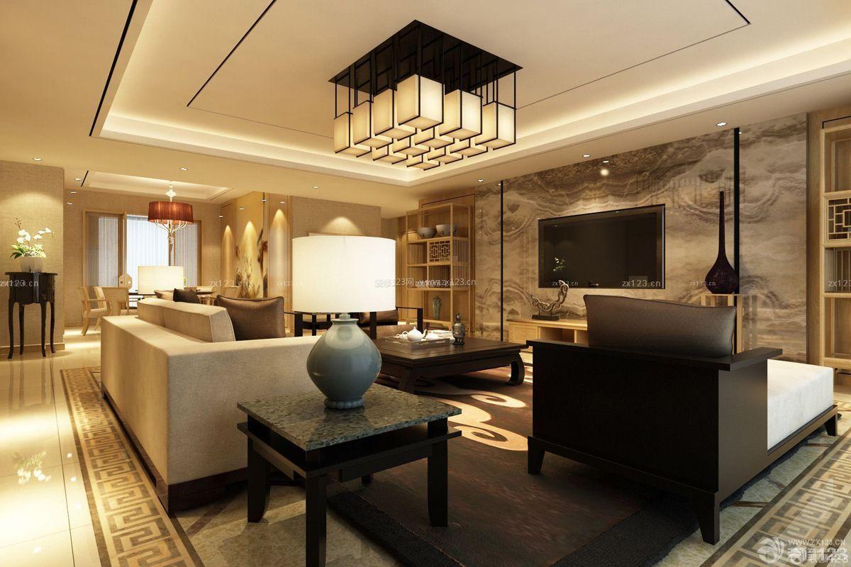 新中式微晶石瓷砖电视背景墙