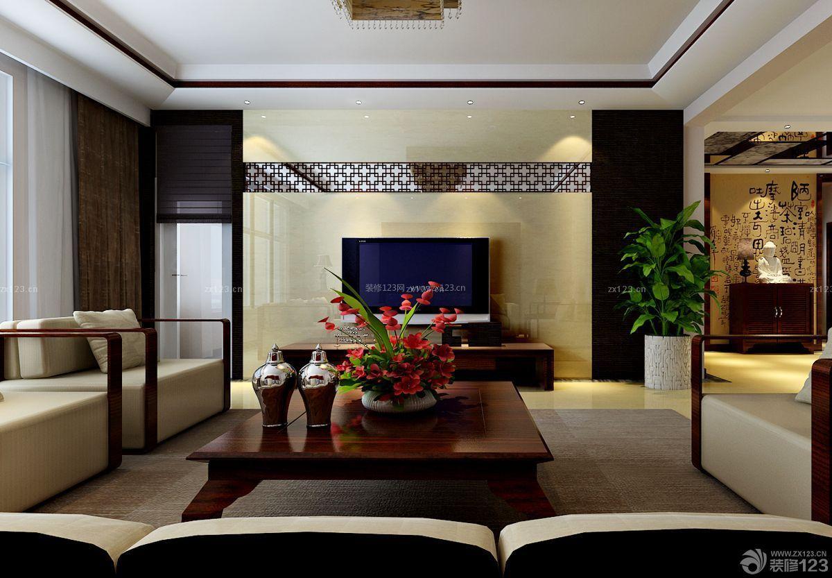 新中式微晶石瓷砖电视背景墙_装修123效果图