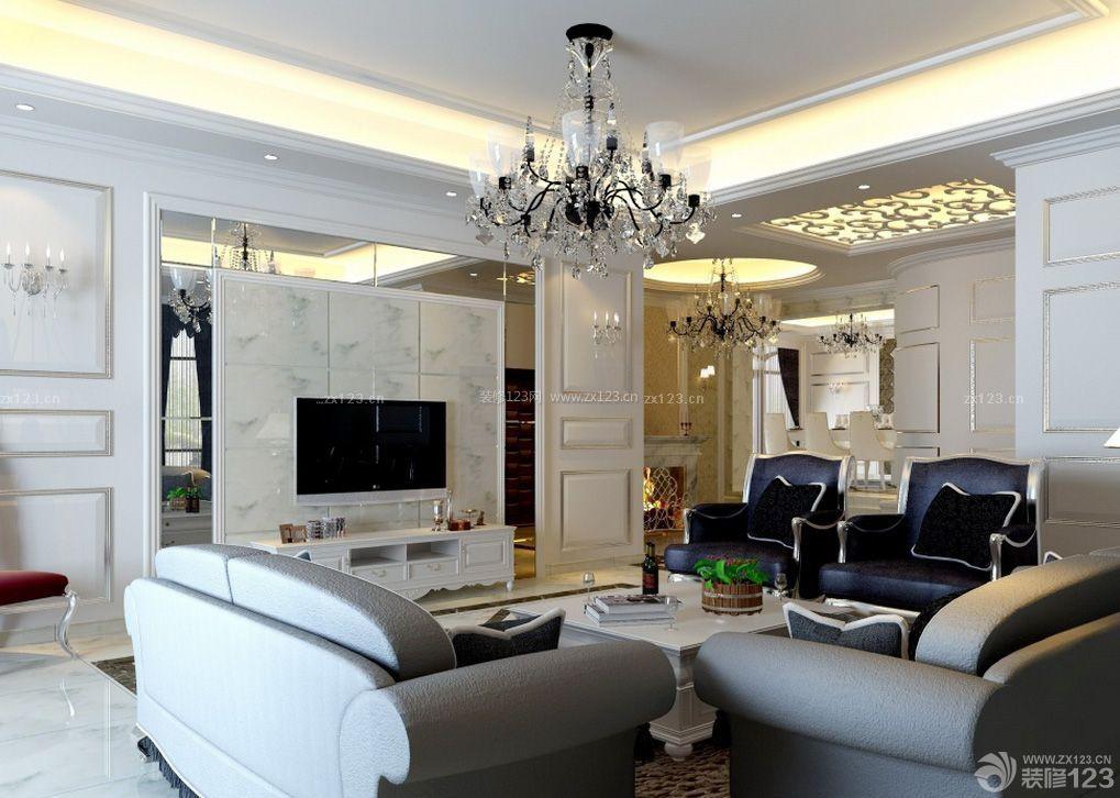 欧式简约风格客厅影视墙效果图图片