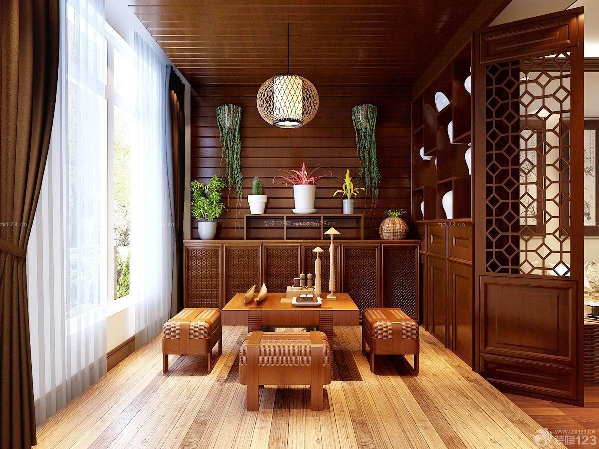中式家装设计客厅阳台隔断装修效果图片