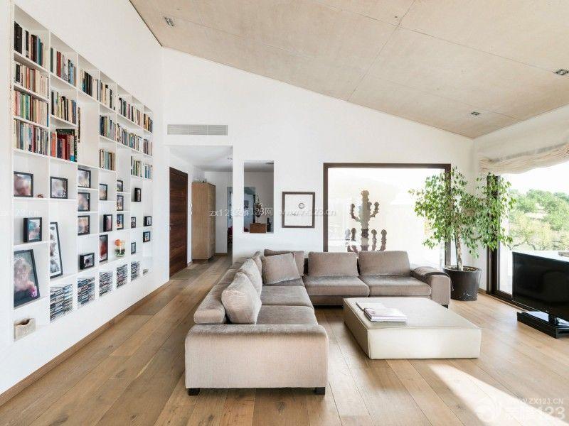 别墅斜顶客厅装修效果图图片