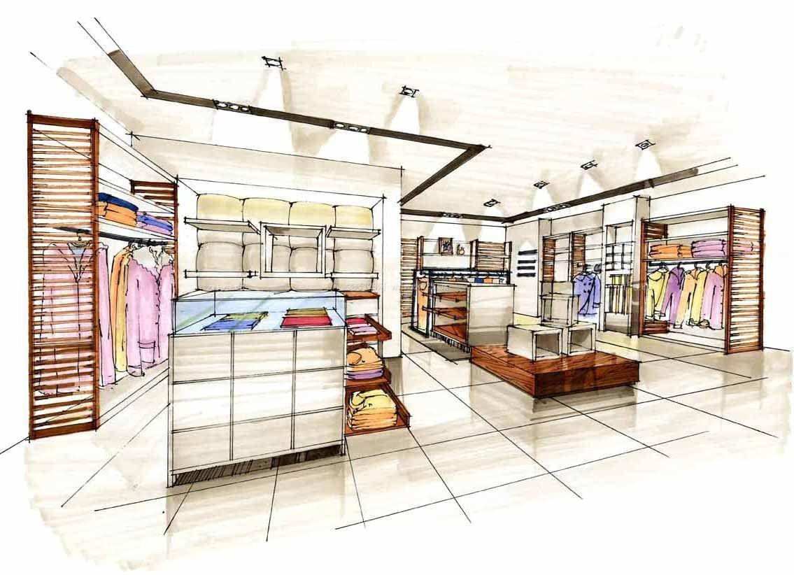 最新服装店室内手绘设计效果图图片