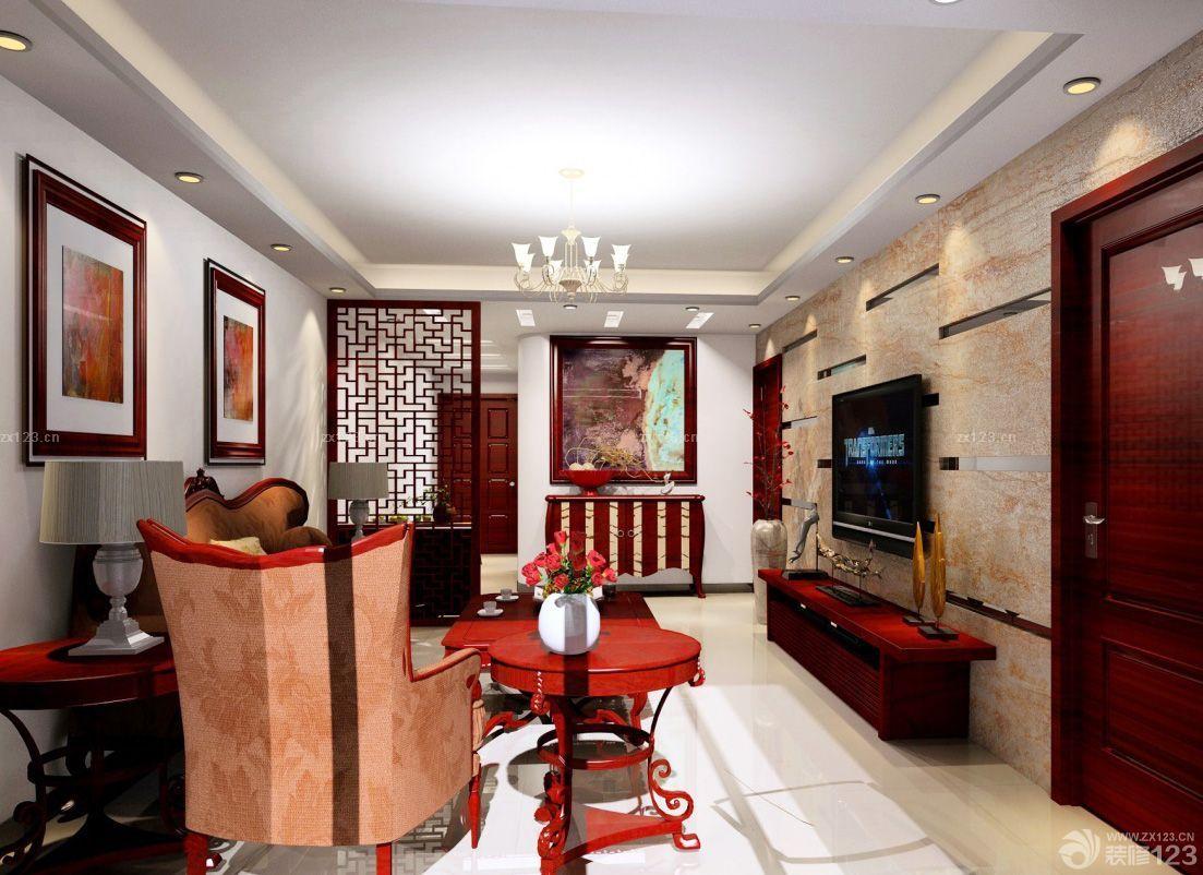 中式家装风格客厅过道吊顶效果图图片