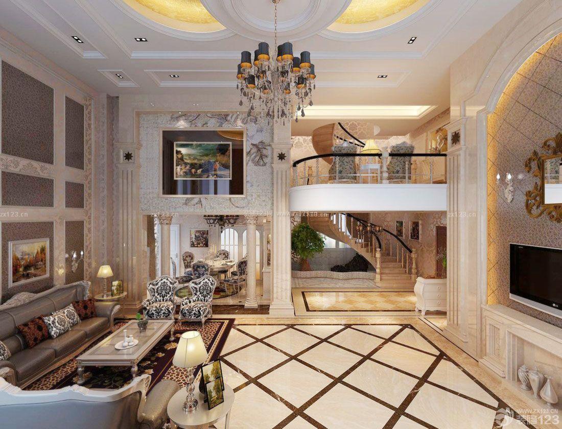挑高客厅拼花地砖装修效果图片