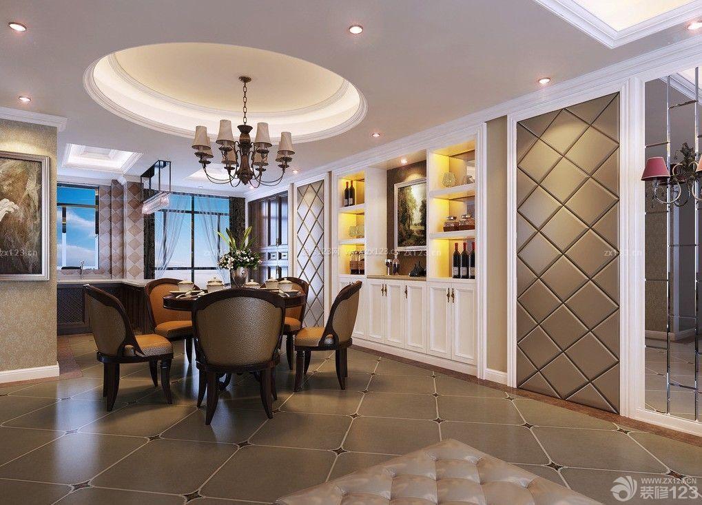 客厅餐厅圆形吊顶装饰图