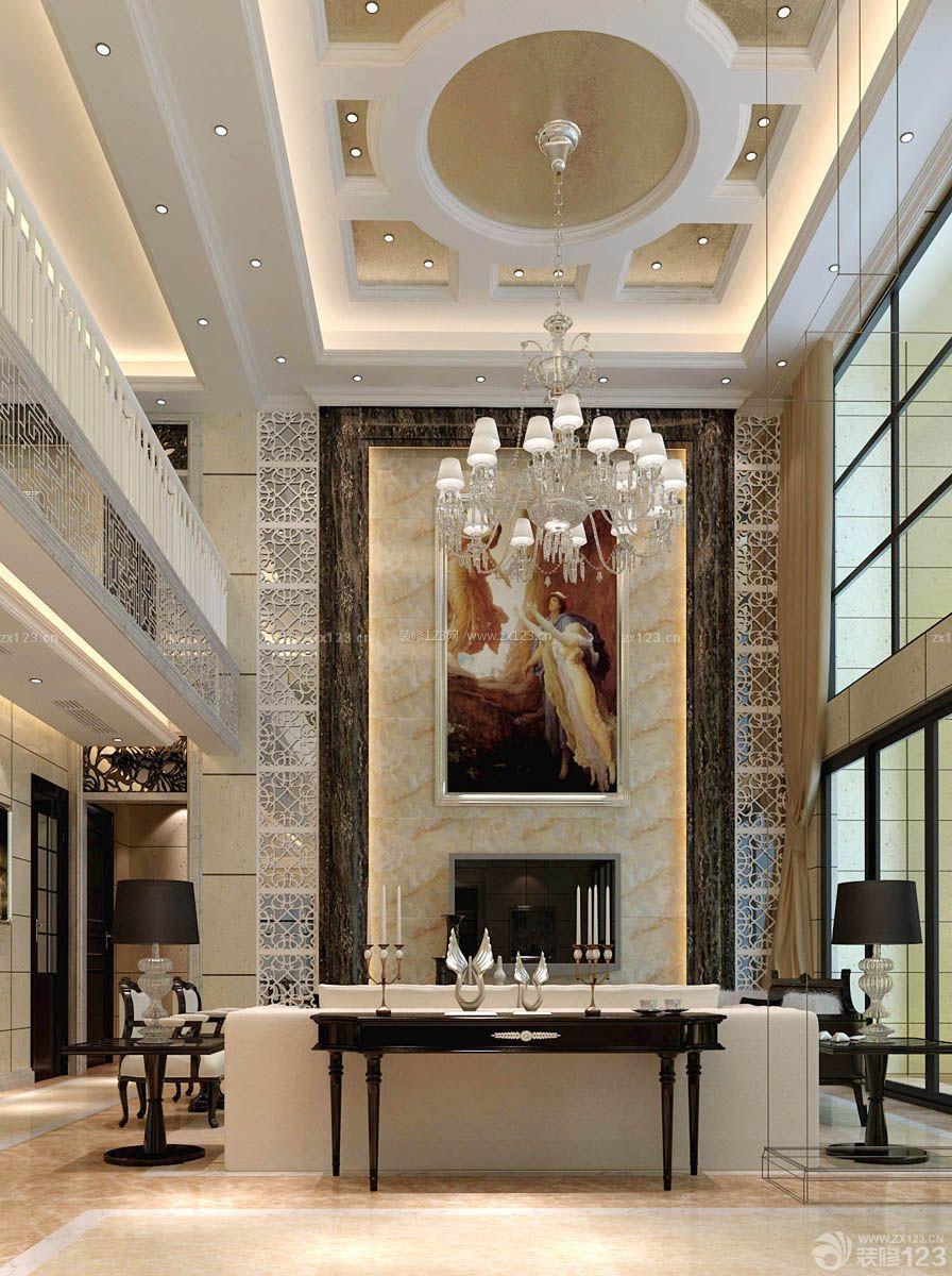 挑高客厅吊顶造型装修效果图片