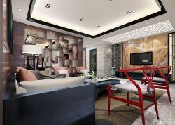 新中式風格客廳客廳裝修隔斷博古架圖片