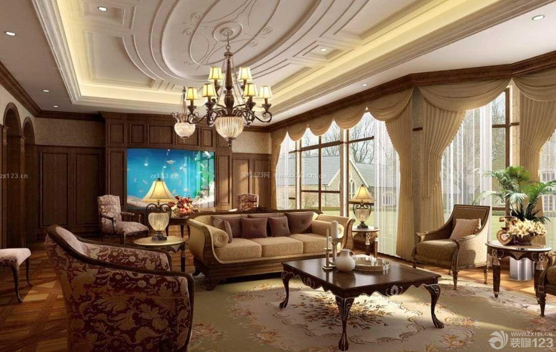 现代欧式客厅吊顶效果图大全图片