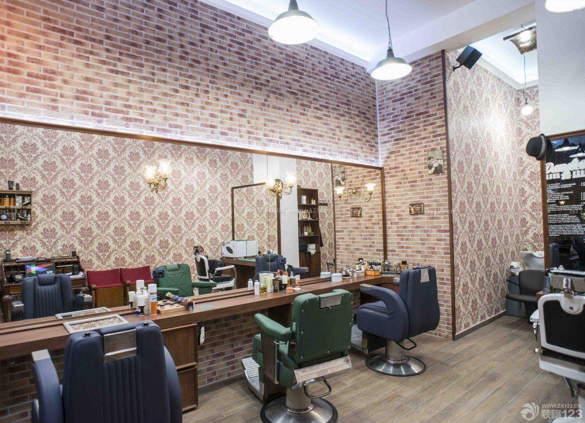 美式风格理发店装修效果图片