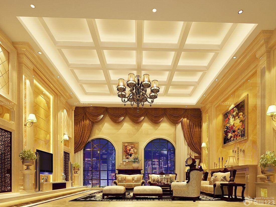欧式别墅家装客厅吊顶效果图片大全图片