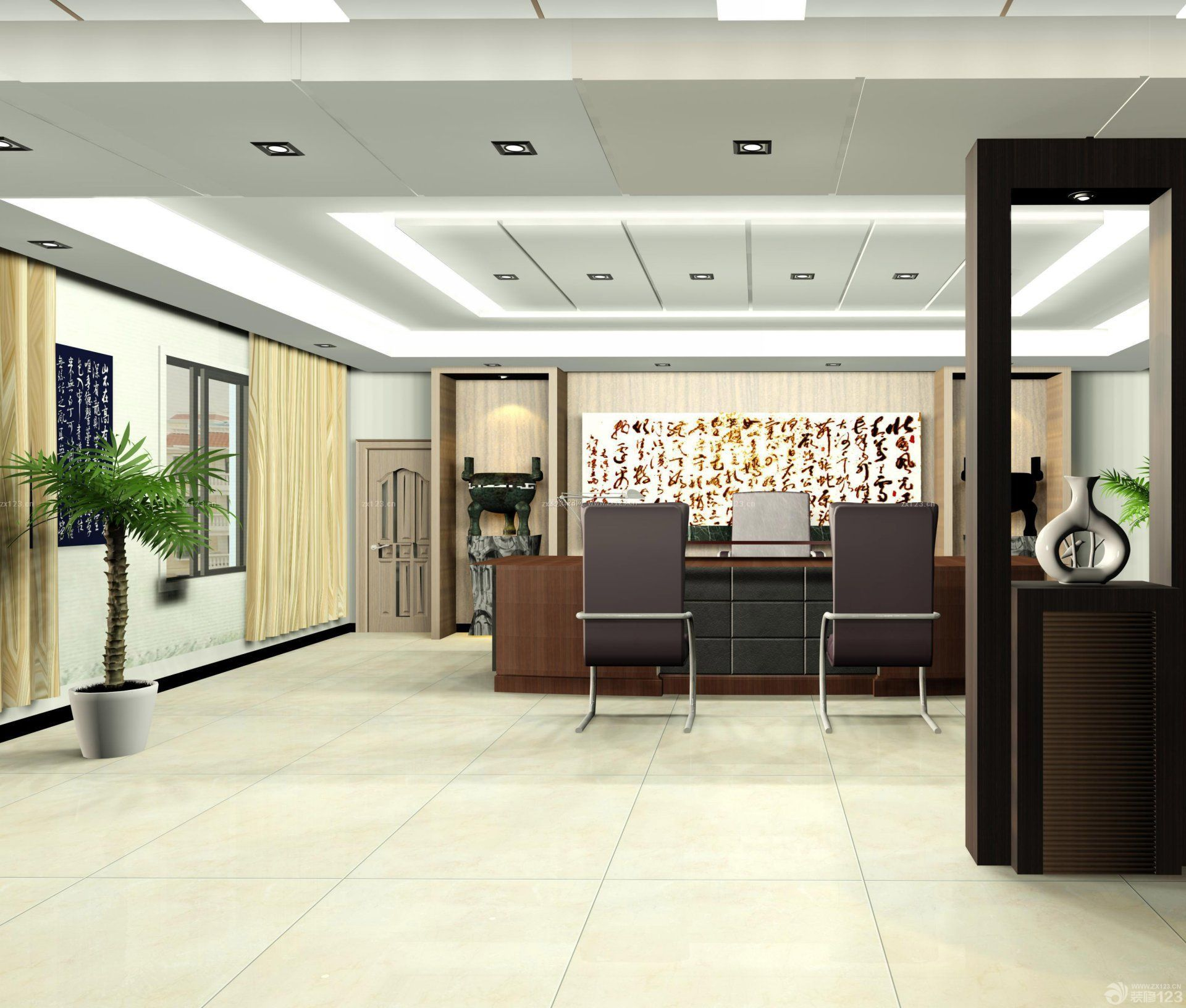 现代董事长办公室地板砖装修效果图