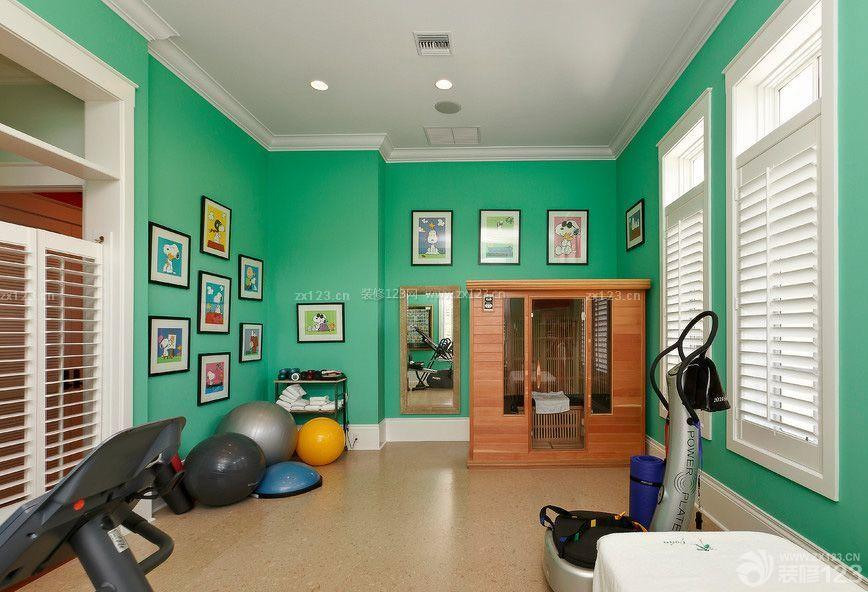 最新健身房绿色墙面装修效果图片