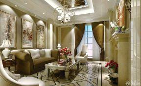 歐式客廳窗簾 120平米別墅圖片大全