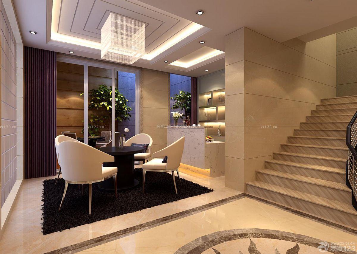 140平跃层客厅大理石地砖装修效果图片