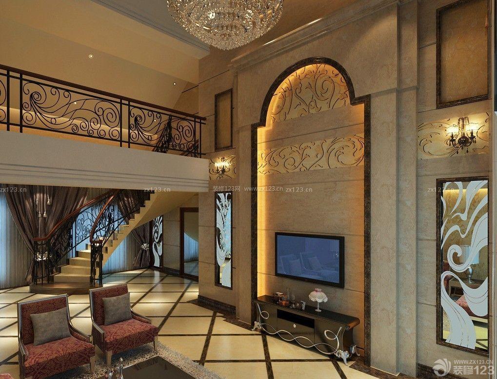 别墅跃层客厅大理石电视背景墙装修效果图