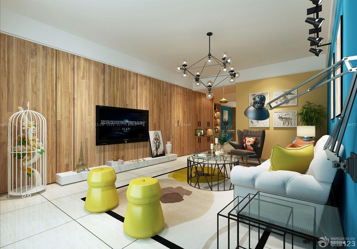 客厅电视墙装修设计木质背景墙效果图片