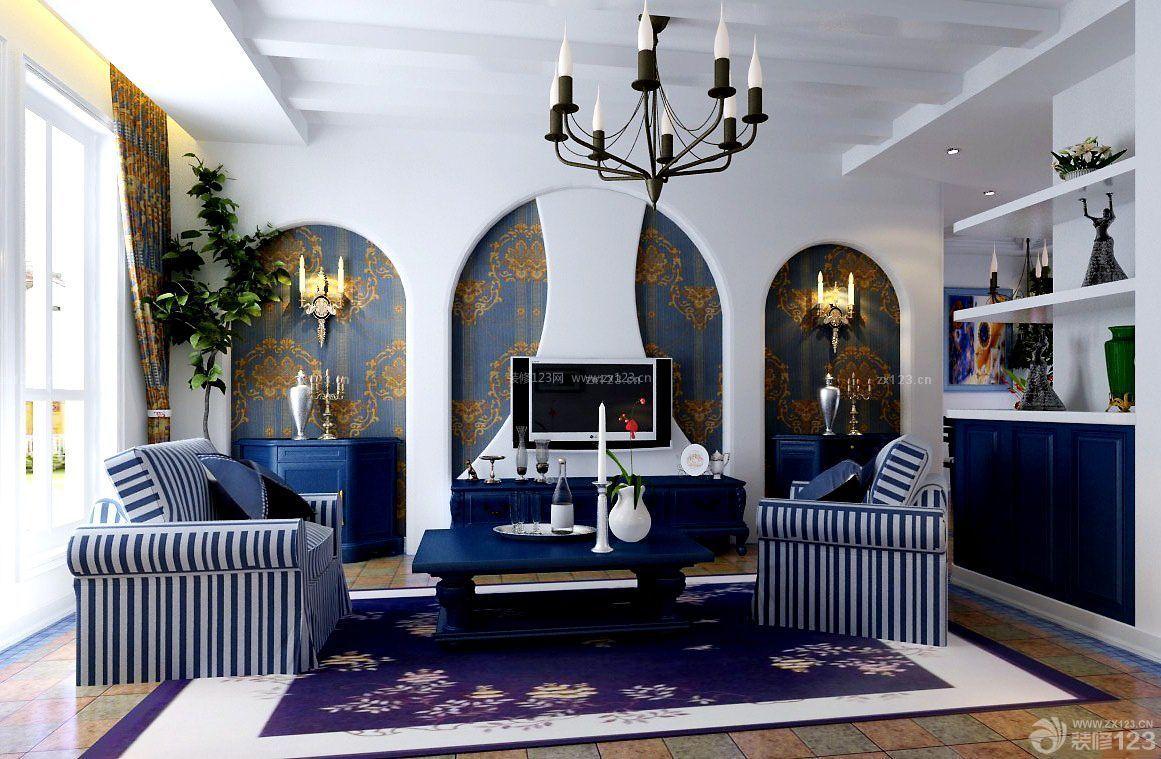 地中海风格客厅电视背景墙装修图