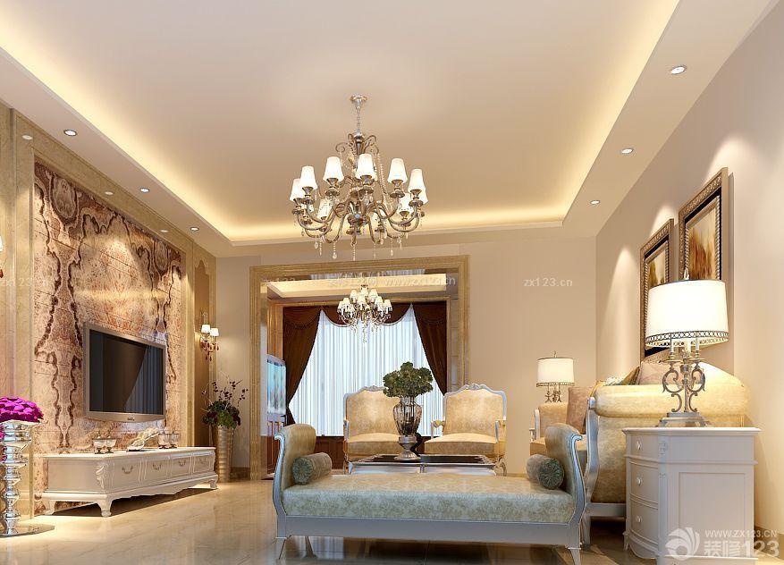 欧式家装设计客厅天花吊顶装修效果图片