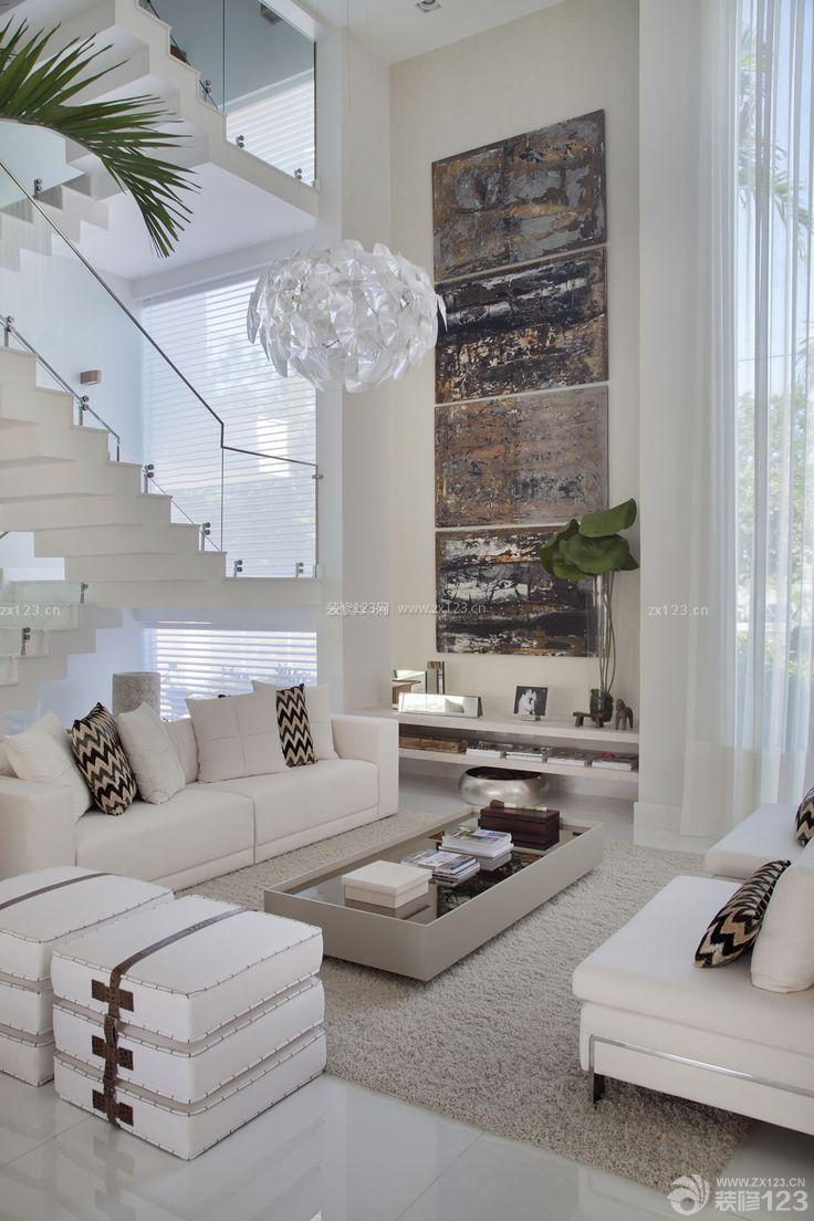 现代简约客厅小复式楼装修效果图