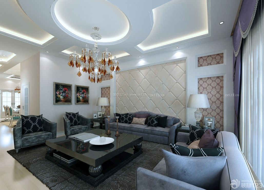 别墅客厅天花吊顶装修效果图欣赏图片